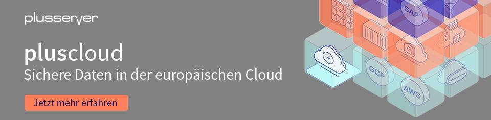 Banner pluscloud - sichere Daten in der europäischen Cloud